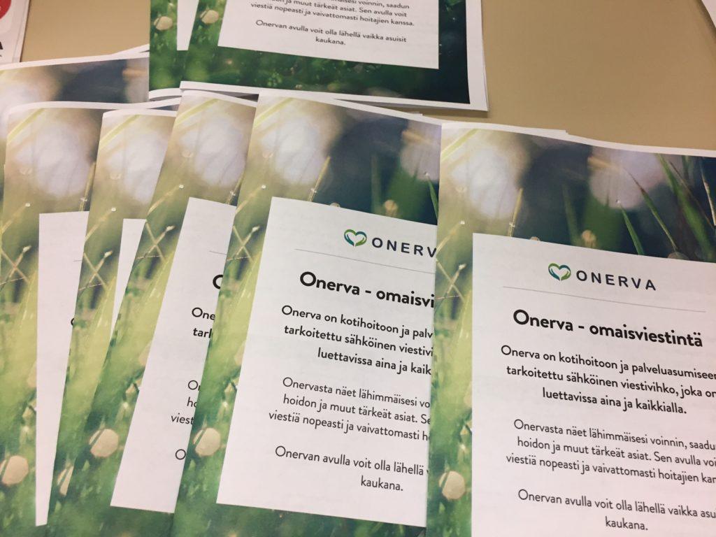 Onerva - omaisviestintäpalvelun esitteitä.
