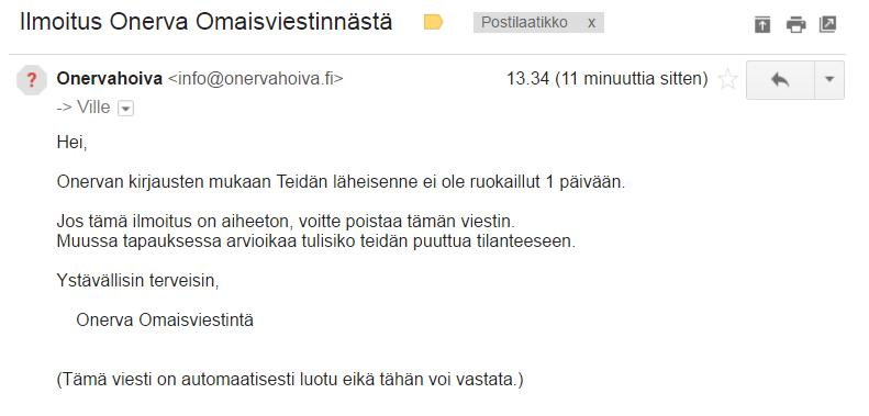 Onerva Omaisviestintä email ilmoitus