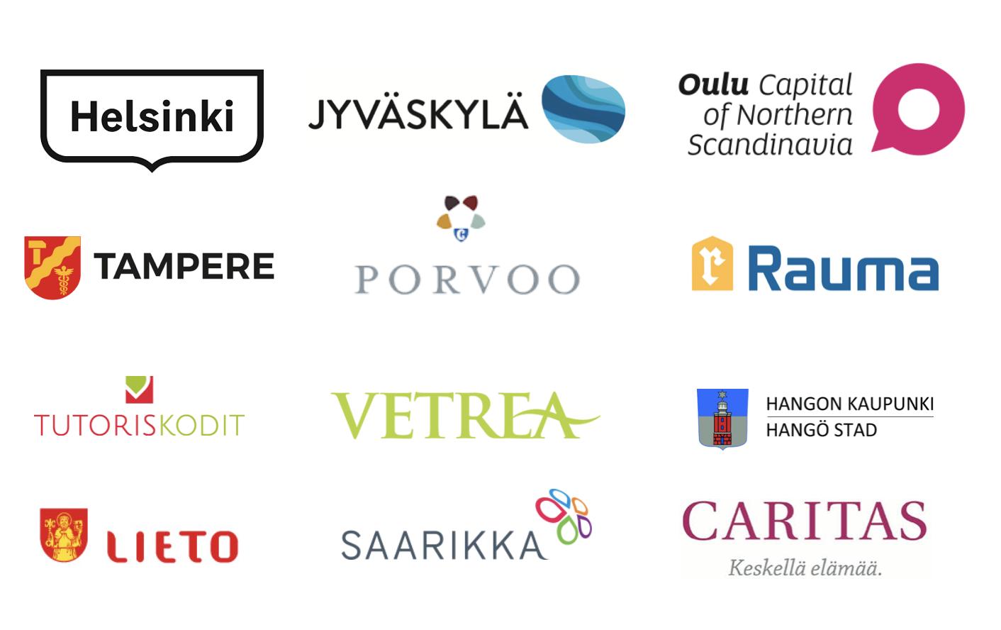 Onervan asiakkaita ja käyttäjäorganisaatioita - Onerva on Suomen suosituin omaisviestintäsovellus sosiaalihuoltoon